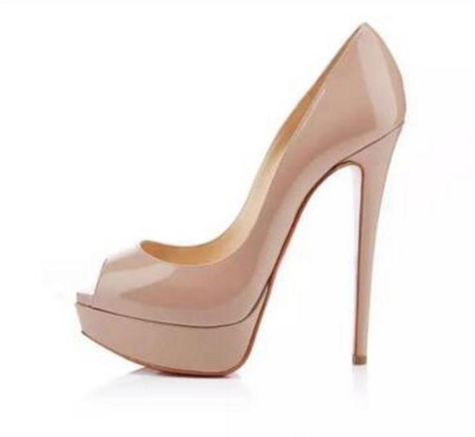 Классический марка Red Bottom Высокие каблуки платформы для обуви Насосы Ню / Черный лакированной кожи Peep носком Женщины свадебное платье сандалии обувь размер 34-45 л