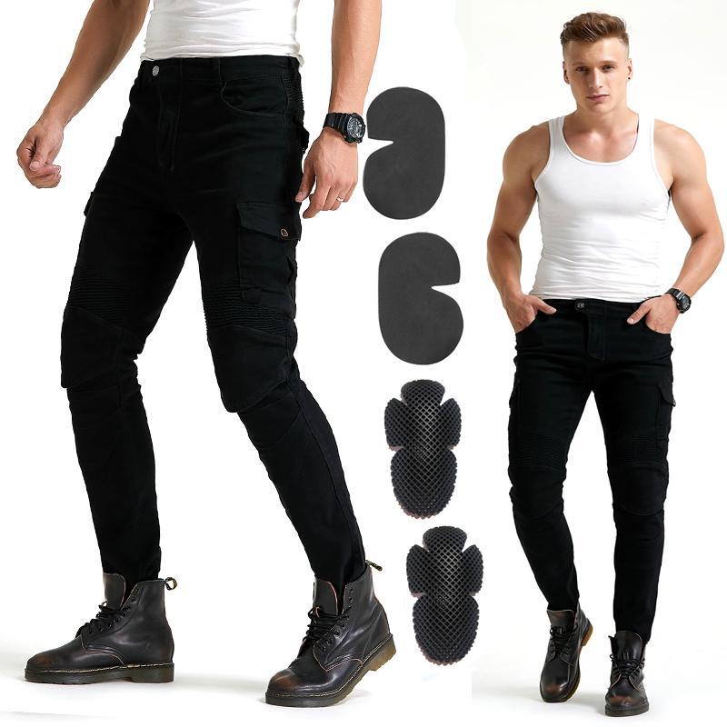 Jeans 2020 pantalones de color caqui de la nueva manera de la motocicleta Moto Moto azul Hombre Negro con el protector de la armadura de la rodilla WF-06