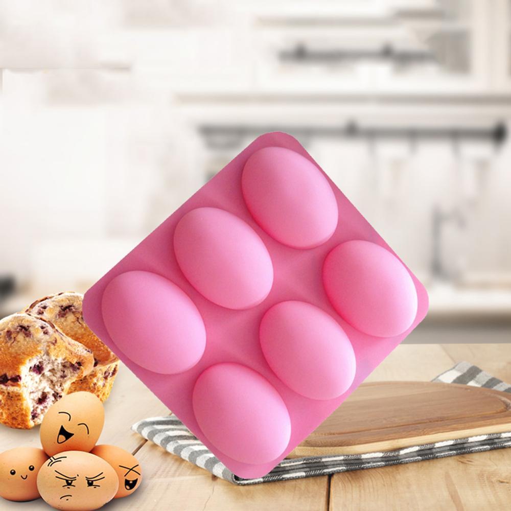 DIY 6 Slots Molde de huevo de Pascua Molde de la torta 3D Oval Goshe Huevos Forma Silicona Molde de jabón de chocolate Pudín Jelly Candy Cookie Molde Muffin