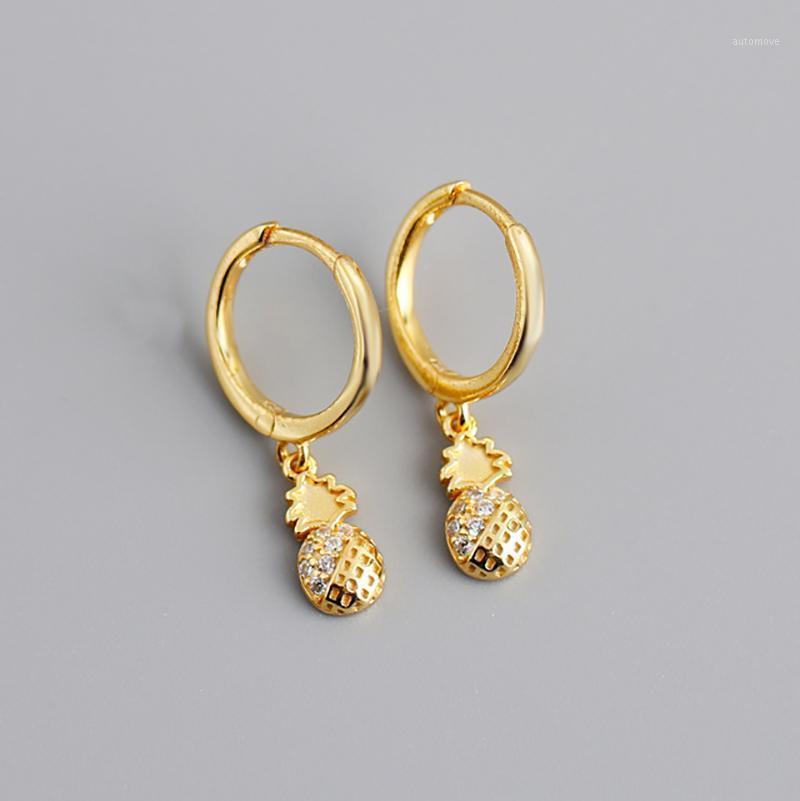 100% 925 Boucles d'oreilles en argent sterling Boucles d'oreilles d'ananas suspendues pour femmes Sterling Argent Bijoux Cadeau Pendiente de Pina1