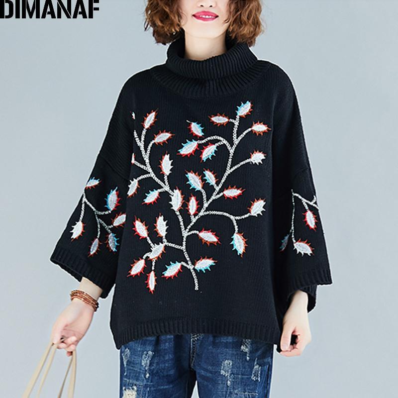DIMANAF Плюс Размер Женщины Свитера Пуловеры Вязание Водолазка Мода Вышивка Цветы Сыпучие Повседневная женщина Lady Топы Одежда 201017