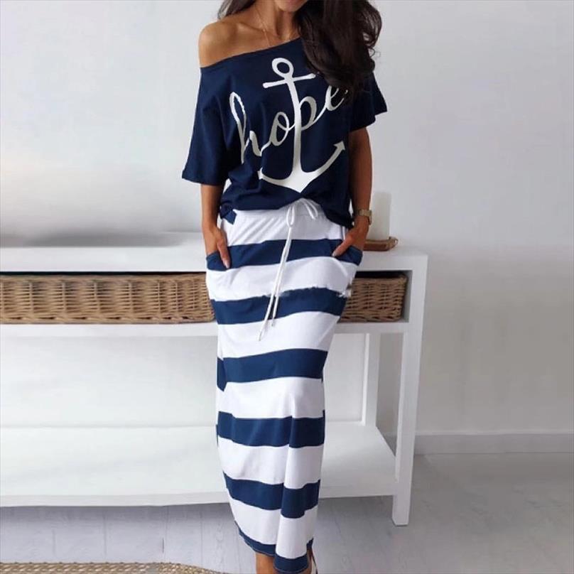 Summer Boat Anchor Top печать нашивка платье с коротким рукавом с плечом пляжа Юбки и Top Casual Сыпучие 2 Piec O шеи женщины