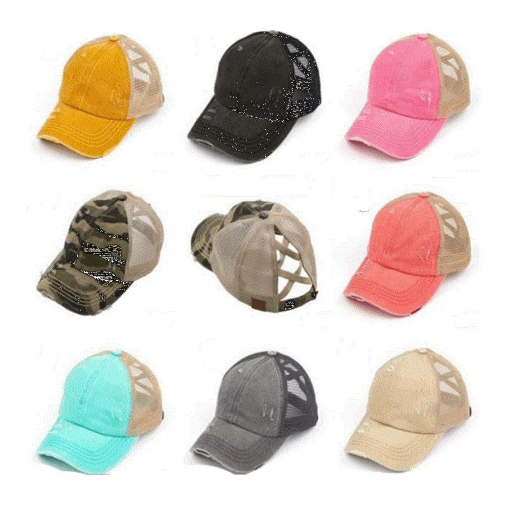 Criss-cross Ball Caps Women Ponytail Baseball Cap Leopard Camouflage Washed Cotton Hats Trucker Caps Summer Snapback Sport Visor H2305