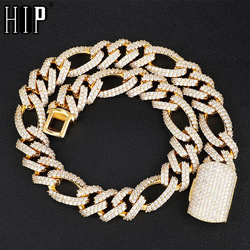 Hip Hop 18MM 2 Row Bling Iced Out Box Buckle Figaro Cuban Chain Copper Setting AAA+ Cubic Zirconia Necklace For Men JewelryQ0115