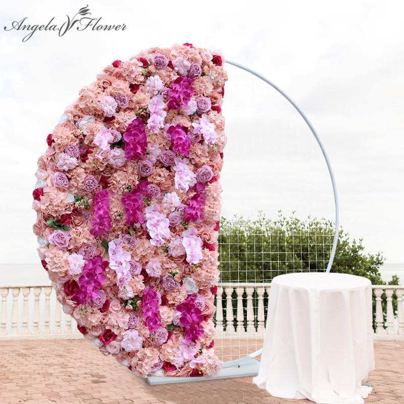 العرف الفاخرة الأوركيد نصف دائري ترتيب الأزهار الزفاف قوس ديكور خلفية زهرة جدار حزب المرحلة الدعائم نافذة العرض