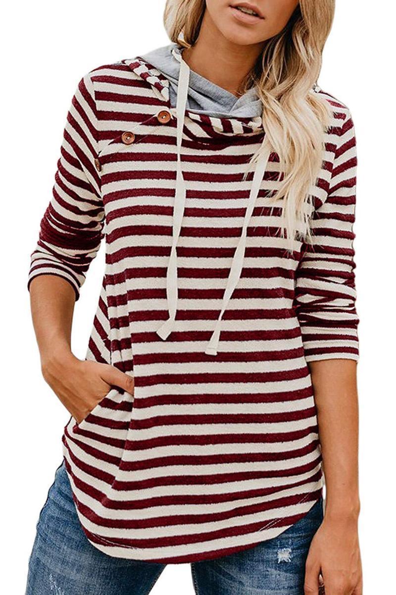 случайная свободная полосатая женщина толстовка мода весна 2020 с длинным рукавом с капюшоном пуловера женской Толстовкой толстовки