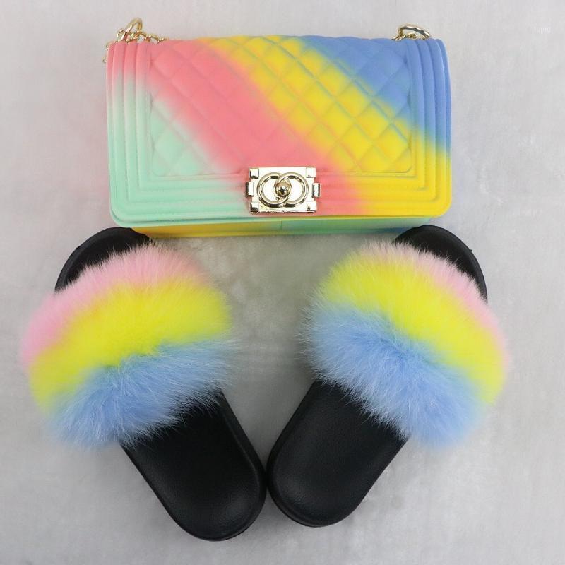 100% Gerçek Kürk Terlik Kadın Kürk Slaytlar Gökkuşağı Ayakkabı Sevimli Flip Flop Kadınlar Seyahat Kürklü Ayakkabı Jöle Çanta Set Moda Bag1