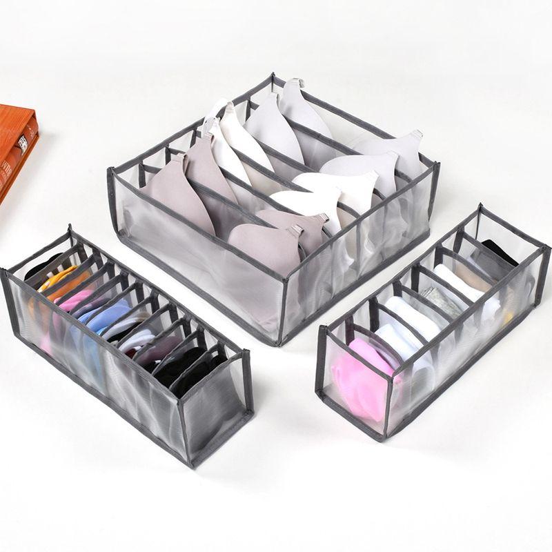 Household Bra caixas de armazenamento Roupa interior Roupa organizador de gaveta de nylon divisor organizador do armário dobráveis Gravatas Meias Shorts Organizador VT1783