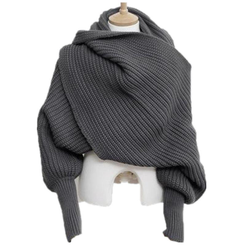Coreano malha PBR Scarf Collar Unisex inverno quente longo da luva Poncho lenços para as mulheres Knit Xailes roubou de Men Sweater Cachecóis 201023