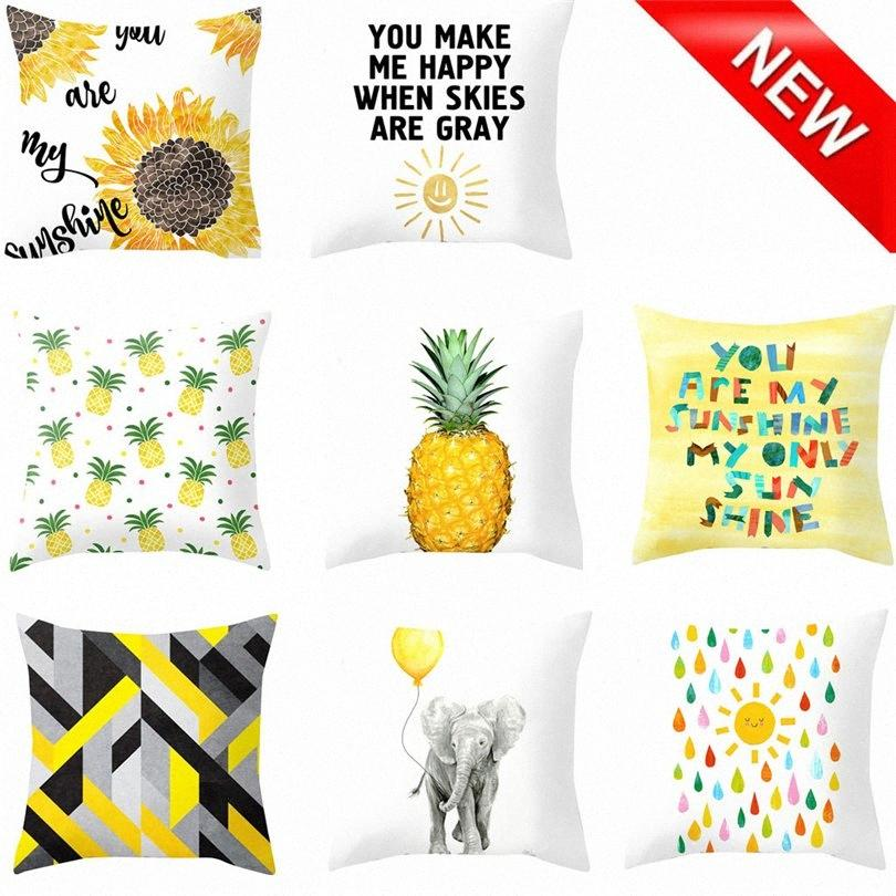 Ananas Feuille géométrique jaune Throw Taie Sofa taille voiture Coussin Home Decor polyester Soft 45 * 45cm Pillowcases J20 qfHr #