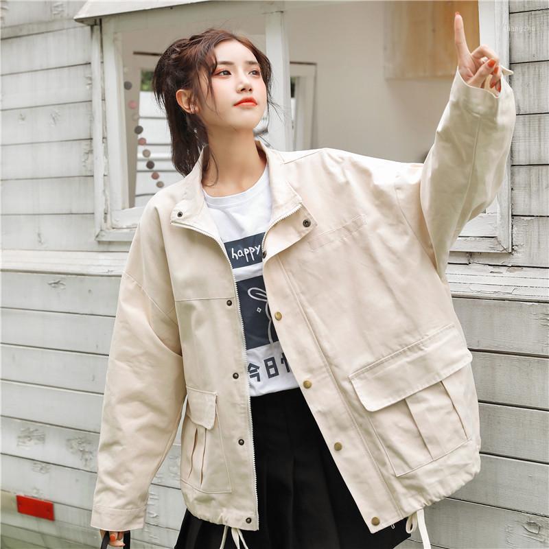 Новые 2020 Осенние Куртки Женщины Двойные Карманы Свободные Свободные Средняя Повседневная Ветровка Верхняя одежда Пальто Дамы Вершина Обувь Tooling Jackets1