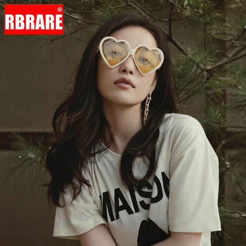 Lunettes de soleil femmes surdimensionnées rbrare de haute qualité femmes lunettes de soleil coeur lunettes de soleil de luxe pour gafas rétro 2020 mujer wtkdb