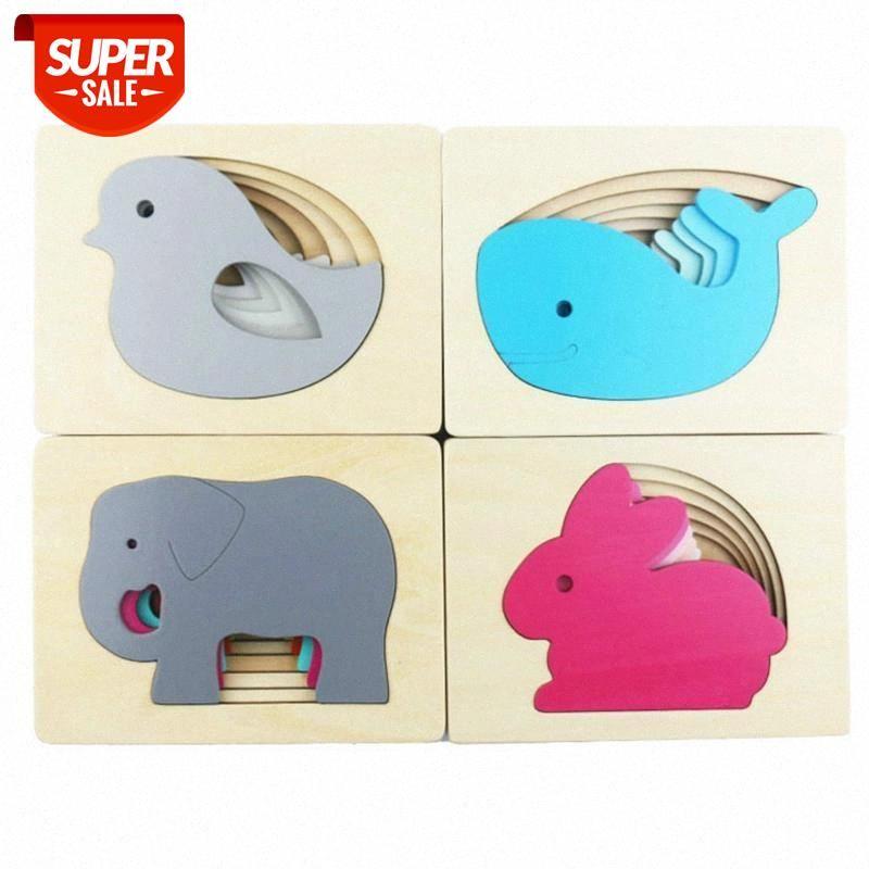 3D головоломки деревянные мультфильм животных слон многослойного градиента сопоставление головоломки раннее изучение образовательной игрушки для детей детей # CP2Q