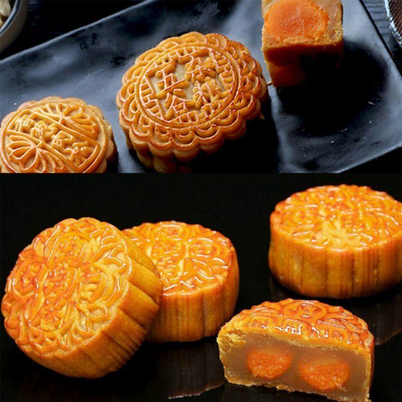 150g Mooncake Stampo con 4pcs Fiori Stamps Moon Moon Cake Pastry Stampo 201023