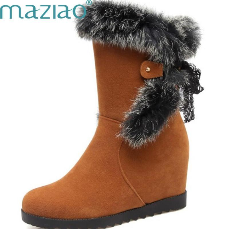 MAZIAO New Hidden Heel Wedge Ankle Boots Lace Up Faux Suede Real Fur Snow Boots Women Winter Warm Shoes