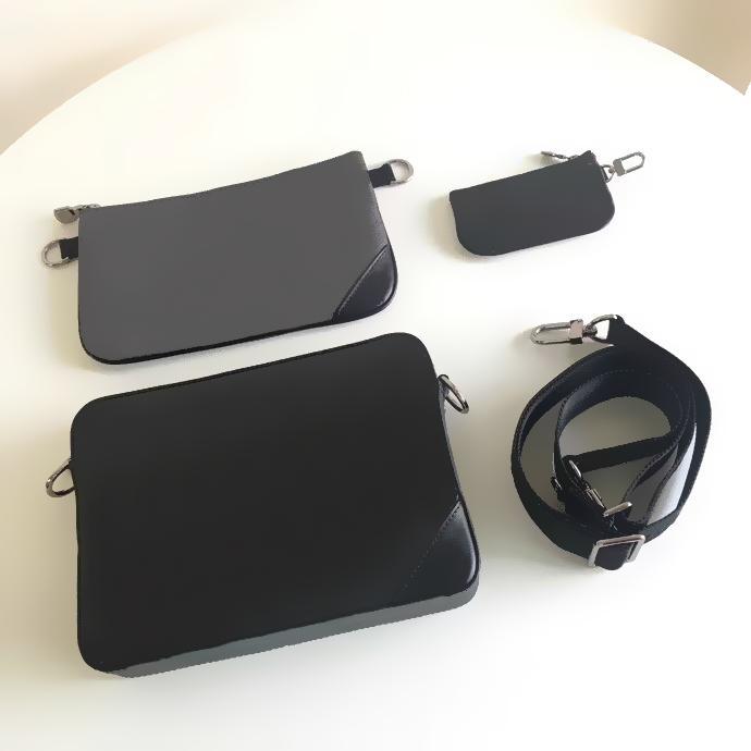 M69443 Trio Messenger مصمم رجالي الصليب الجسم الكتف حقيبة عارضة مع القابل للإزالة مضغوط الجيب عملة محفظة المنظم pochette حقيبة الظهر