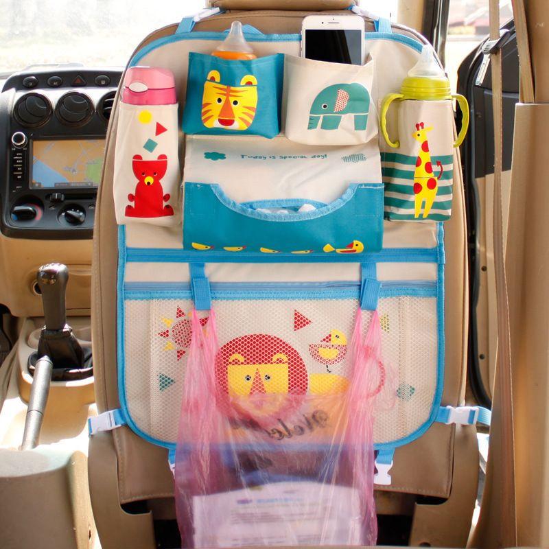 Dessin animé siège de voiture dossier suspendre sac de sacs Organisateur coiffeur de voiture bébé varia arring de rangement automobile interior accessoires LJ201119