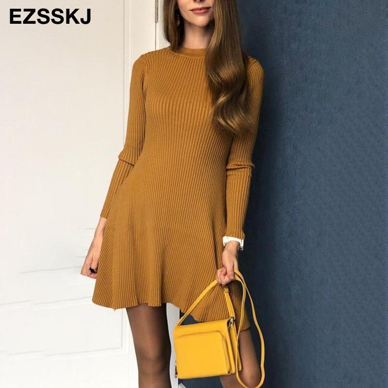 2020 inverno básica outono curta aline suéter grosso vestido mulheres elegantes vestido de malha fina mini-Feminino chique sensuais malha