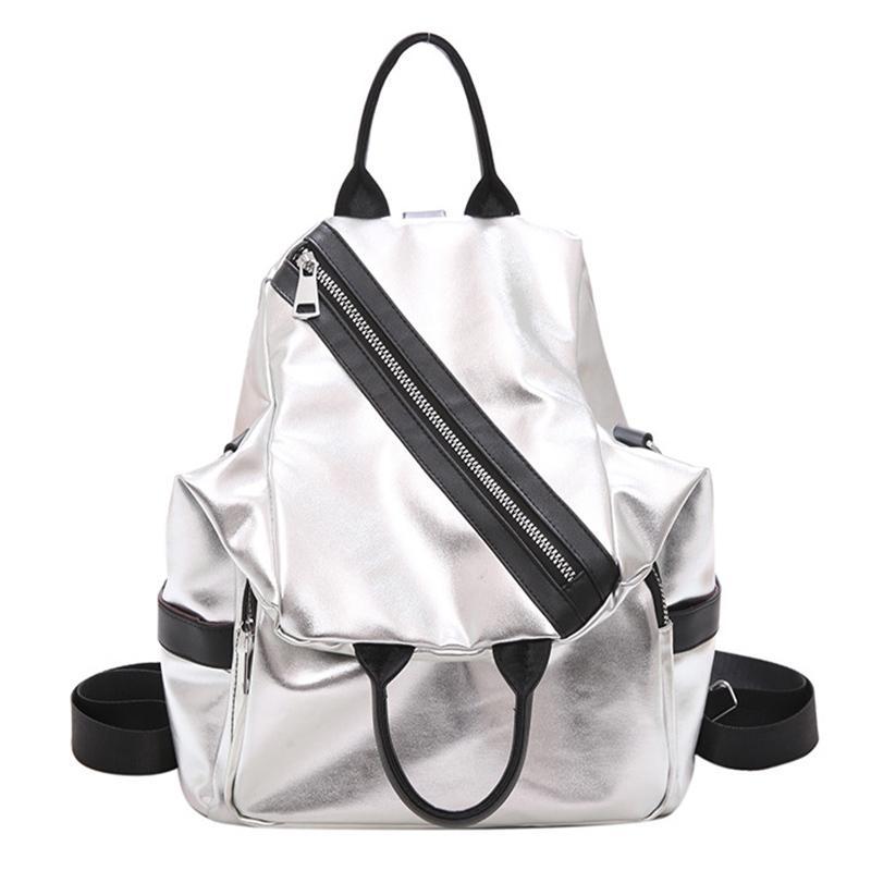 Backpacks Silver Tide Brand Girl School Travel Multifunction Backpack Leather Waterproof Women Luxury Shoulder Bag Q1113