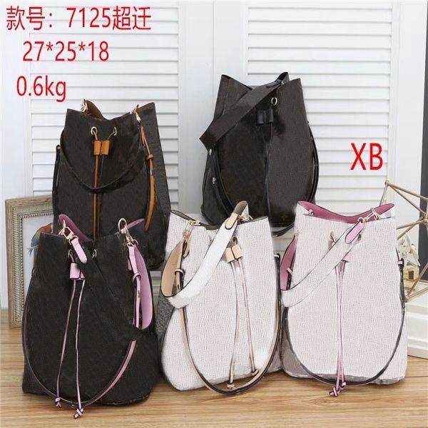 HH New luxurys Designer bag Women leather Letter Printing Bucket Bag lady Genuine PU leather Shoulder Bags brand Handbag tote wallets