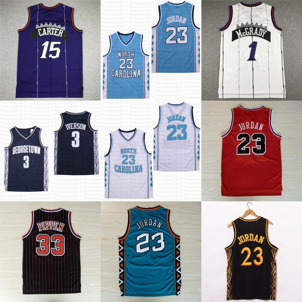 NCAA 1 McGrady North Carolina Tar Guis 23 Michael Vince 15 Carter Tracy 33 Pippen Basketball Jersey