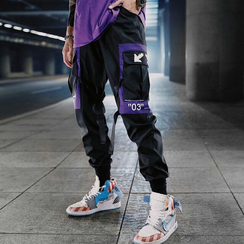 Hip Hop Ribbons Calças de Carga Homens Calças Calças Streetwear Homens 2020 Moda Mens Elástico Cintura Pant Ribbons Calças Calças Q1103