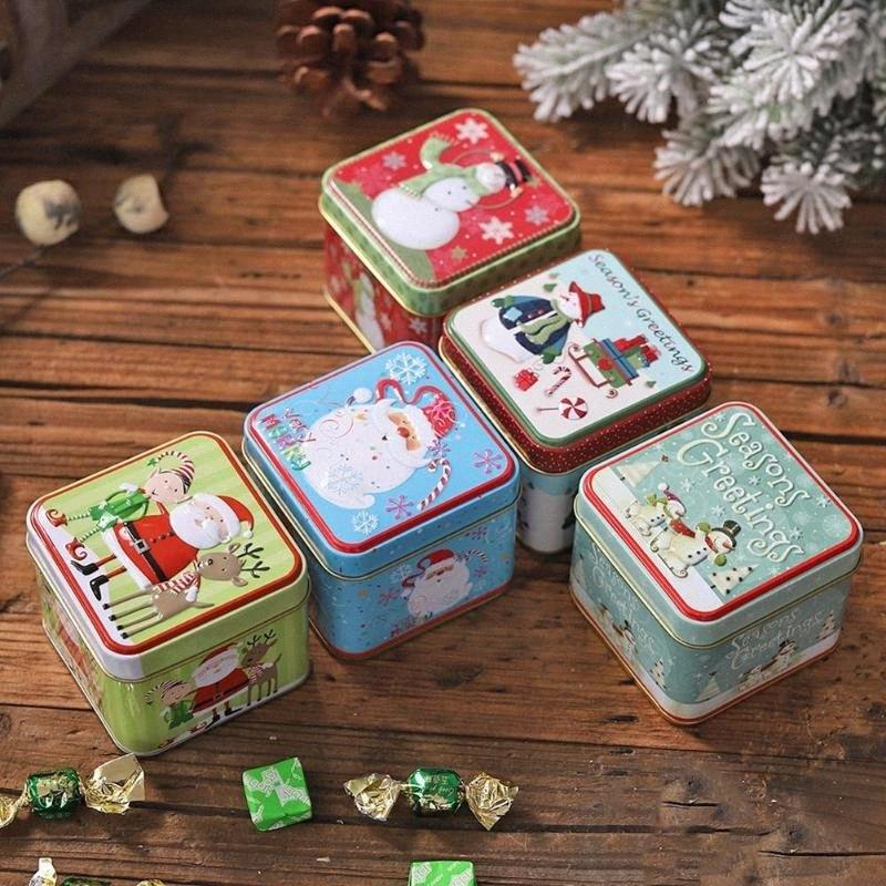 Christmas Theme Candy Tin Box большой емкости для детей Металлические Конфеты Jar Праздник Аксессуары партии подарков Украшение rUjo #