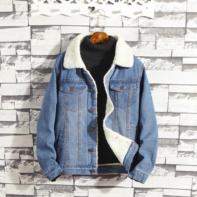 2020 Autum espessamento Inverno Denim Jacket Men Cowboy Fleece Coats Light / Dark Blue Jeans Casual Vire-down Cotton Collar For Man