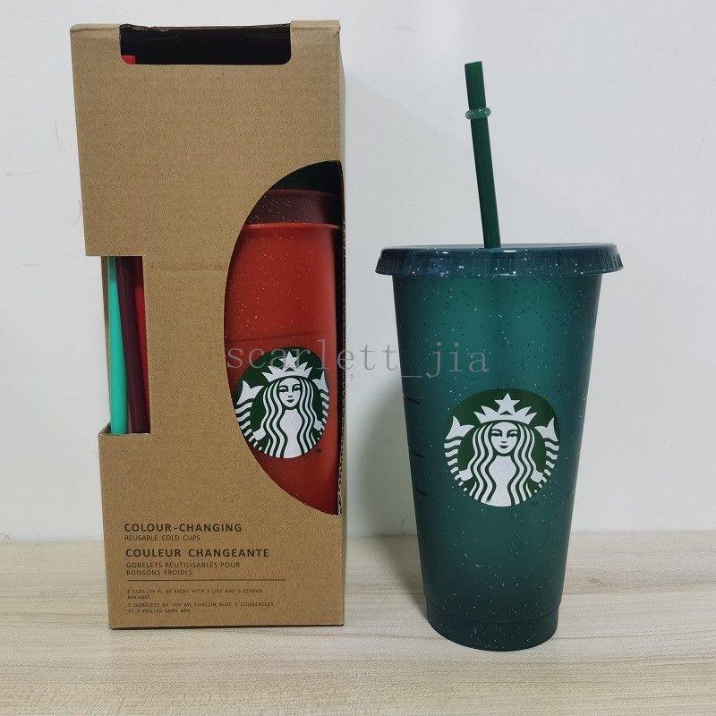جديد 24 أوقية / 710 ملليلتر ستاربكس الترتر البلاستيك بهلوان قابلة لإعادة الاستخدام شرب شرب مسطح أسفل كوب عمود شكل غطاء القش القدح bardian