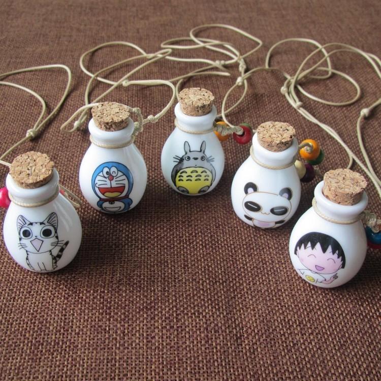 Аниме бутылка духи Новый дизайн мультфильм ожерелье для женщины винтажные подвесные керамические украшения свитер цепи