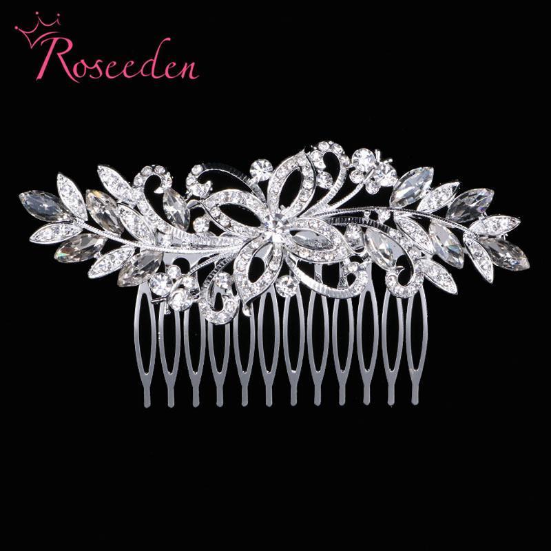 Cabelo de noiva quente pente de strass folha floral nupcial headpiece dama de honra na moda cabelo clipe jóias acessórios re808