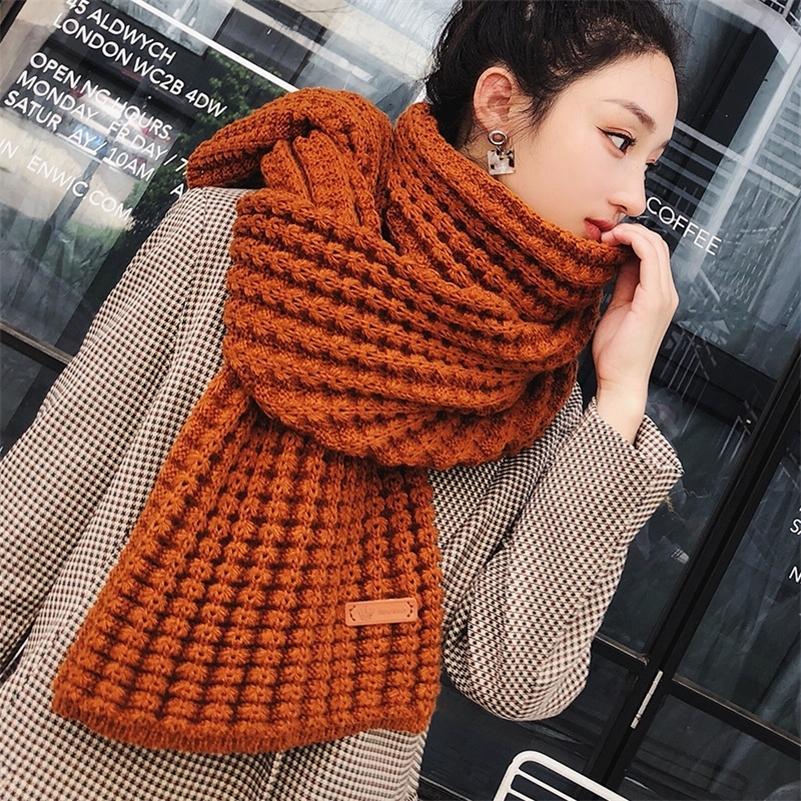 Les nouvelles hiver tricotée femmes mode long foulard cru femme grand châle pashmina doux et chaud écharpe en laine épaisse Y201007