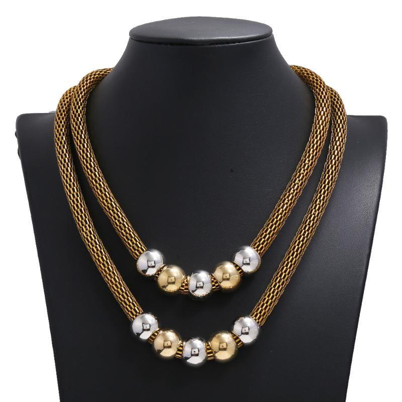 Antik Gold Farbe doppelte Schicht-Netzwerk-Kette Perlen Charm Opulente Halskette Female Fashion Trends Schmuck Bijoux Accessoires