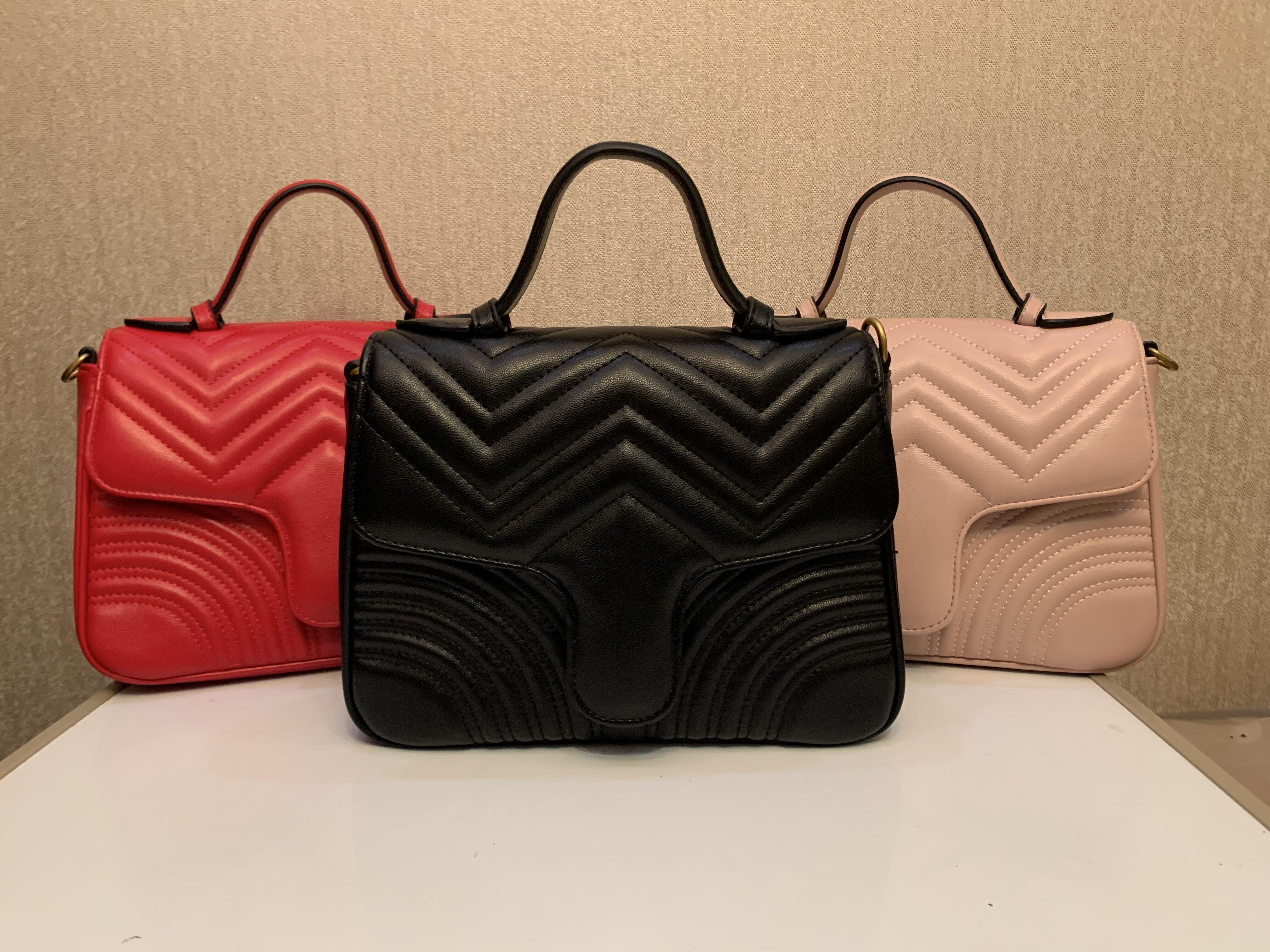 뜨거운 판매 새로운 Marmont 어깨 가방 레이디 하트 모양의 골드 체인 메신저 가방 PU 가죽 핸드백 지갑 레이디 메신저 가방