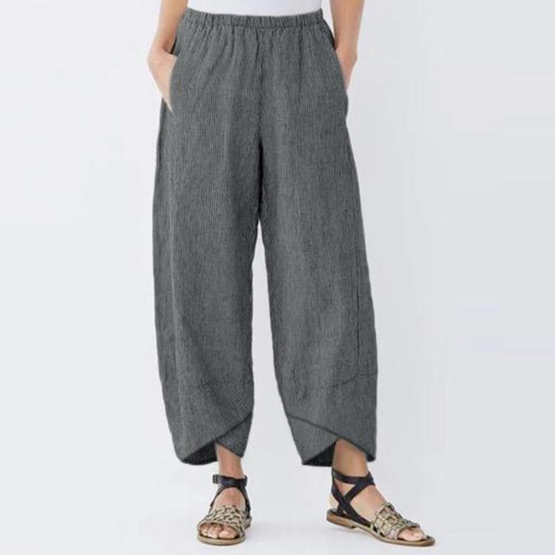 Running Pants Fashion Womens Casual Solid Color High Quality Pocket Elastic Waist Loose Linen Trousers Summer Spring 2.201