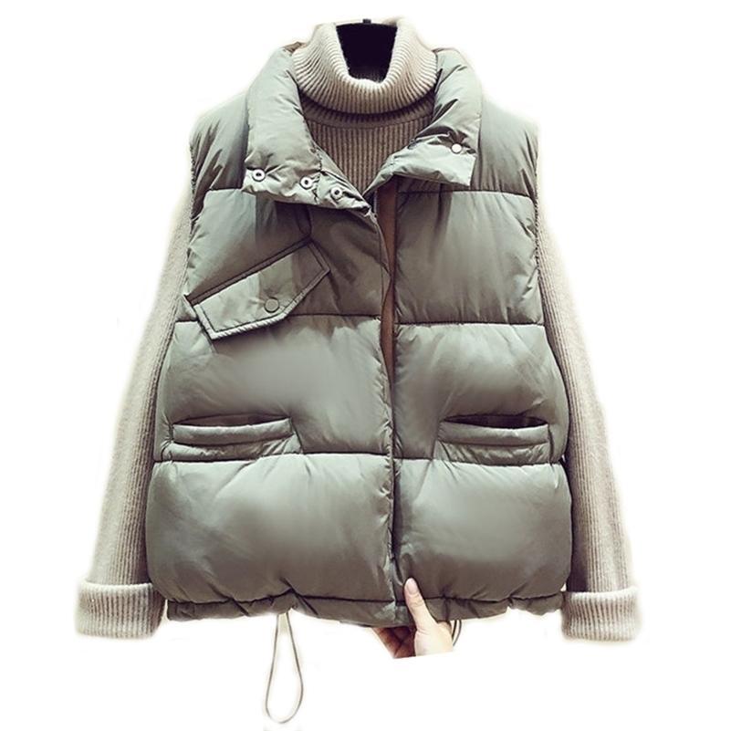 Хлопковый зимний жилет женские Harajuku BF свободно толстый короткий жилет куртка верхняя одежда молния без рукавов жилет куртка 201031
