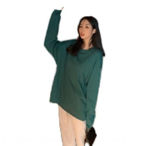 UR1H5 Sonbahar Yeni Kore Son Kat tişört En iyi kadın yuvarlak boyun gündelik geçici kollu tişört uzun uR5CP eğilim