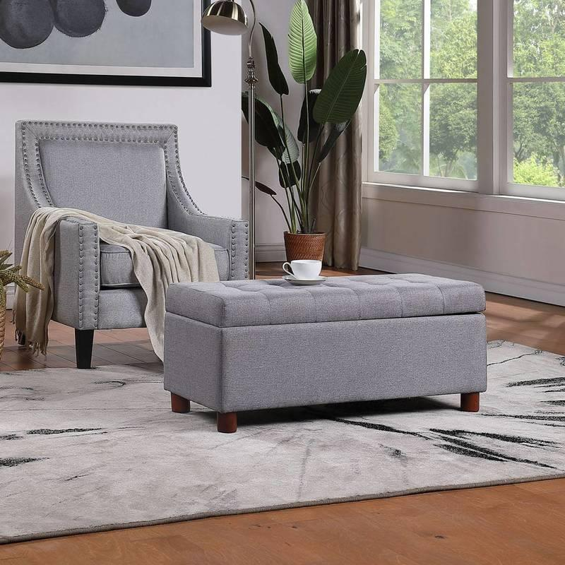 US Stock 39'' Storage Living Room Furnitures Tufted Linen Fabric Ottoman Bench Fast Delivery