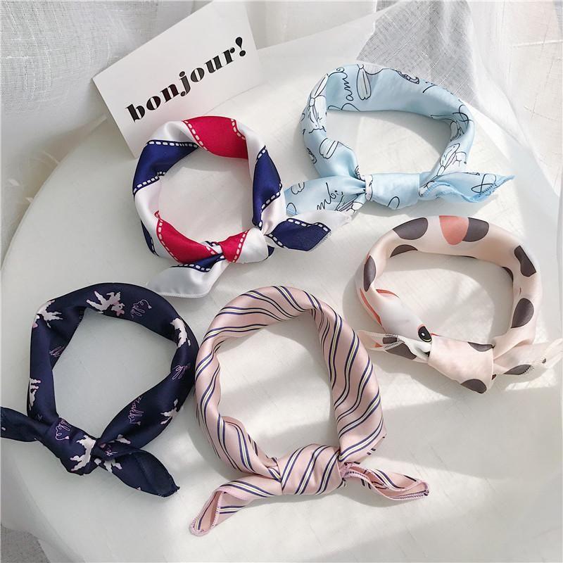 50 * 50 cm stampato piccole sciarpa di seta quadrata da donna vestiti decorazione testa sciarpa 2021 moda moda