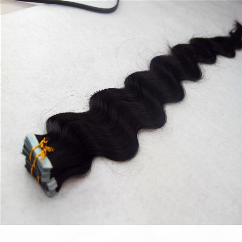 İnsan Saç Uzatma Vücut Dalga Cilt Atkı Doğal Saç 20adet 40pcs Doğal Saç Yapışkan Uzantıları 8-36 inchs içinde Bant