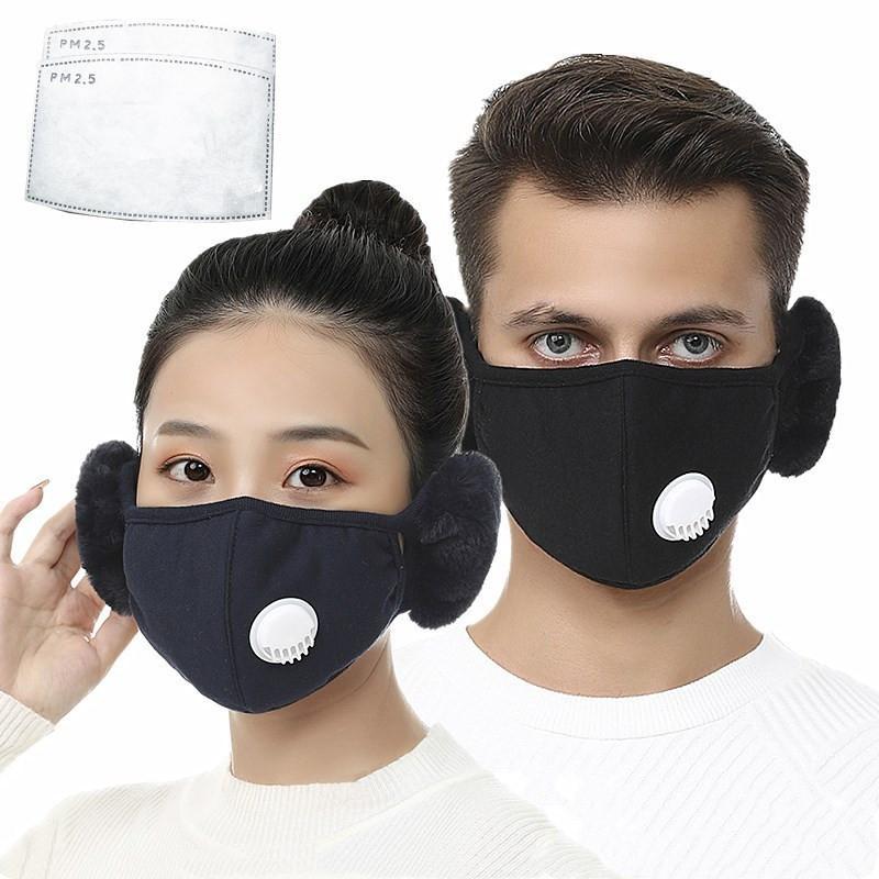 2 em 1 válvula máscara facial com amacas de pelúcia inverno máscaras de boca quente máscaras boca-muffle Earflap de ciclismo ao ar livre máscara facial com 2 pcs filtros ccb2698