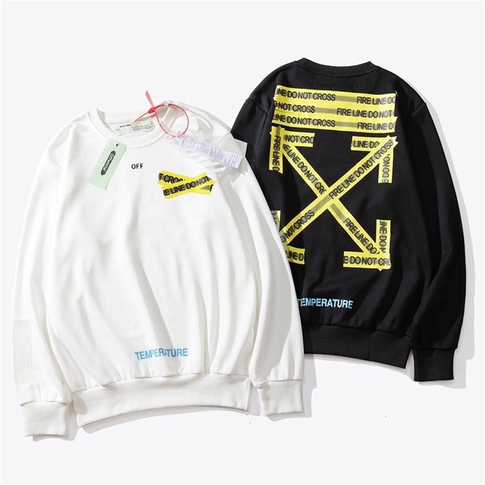 OWF inizio autunno nuovo fashion brand ins caldo Fondazione cordone giallo sulla rotonda uomini maglione collare e donne paio cappotto