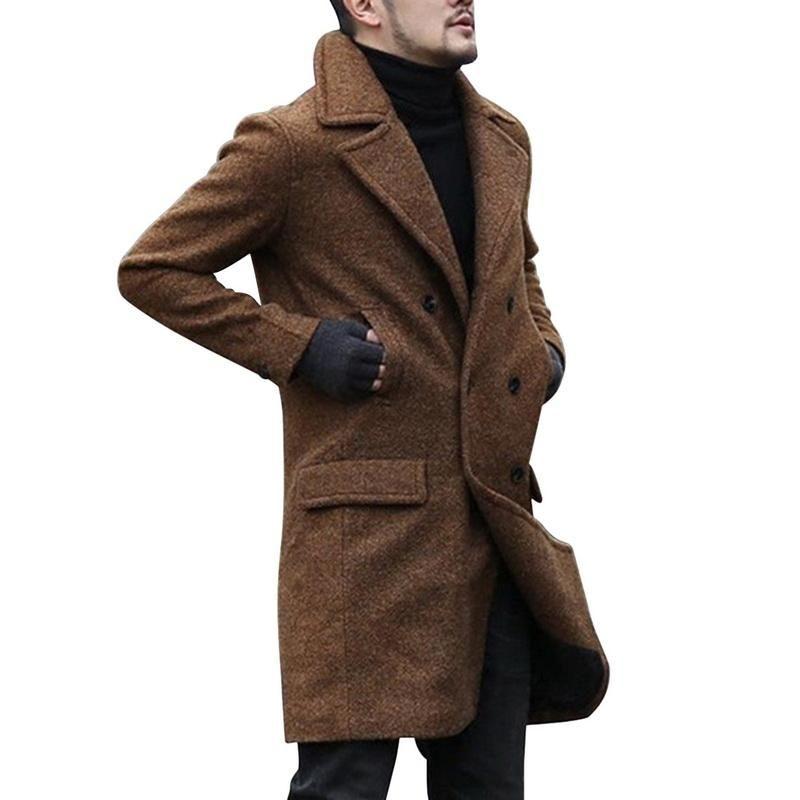 Laamei 2021 Новая Зимняя шерстяная пальто Мужчины Досуг Длинные разделы Пальто Мужской Чистый Цвет Повседневная Мода Куртки Повседневная Мужчины