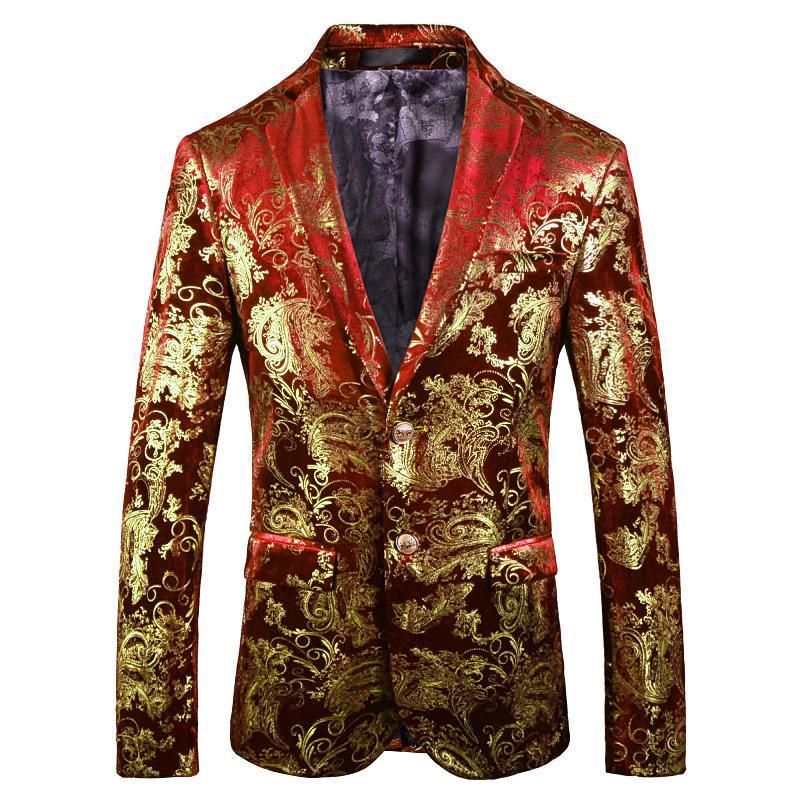 2021 Men's Bronzing Fashion Printed Suit Youth All-Matching Casual Floral blazer for men