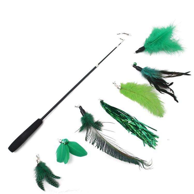Tease Stick Peacock Hair 8 Piezas Set 7 Cabeza de reemplazo Juguetes para gatos 3 Secciones Rodilla de pesca