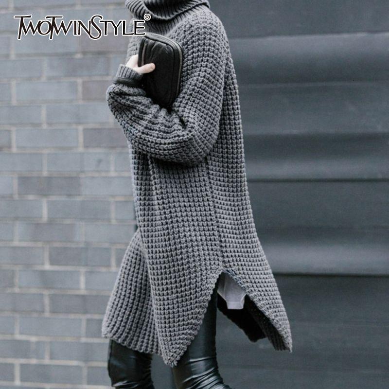 Camisola de gola alta manga comprida Quente do TWOTWINSTYLE coreana Side Dividir Mulheres Grosso Feminino Sweater Outono Inverno Moda de Nova 201012