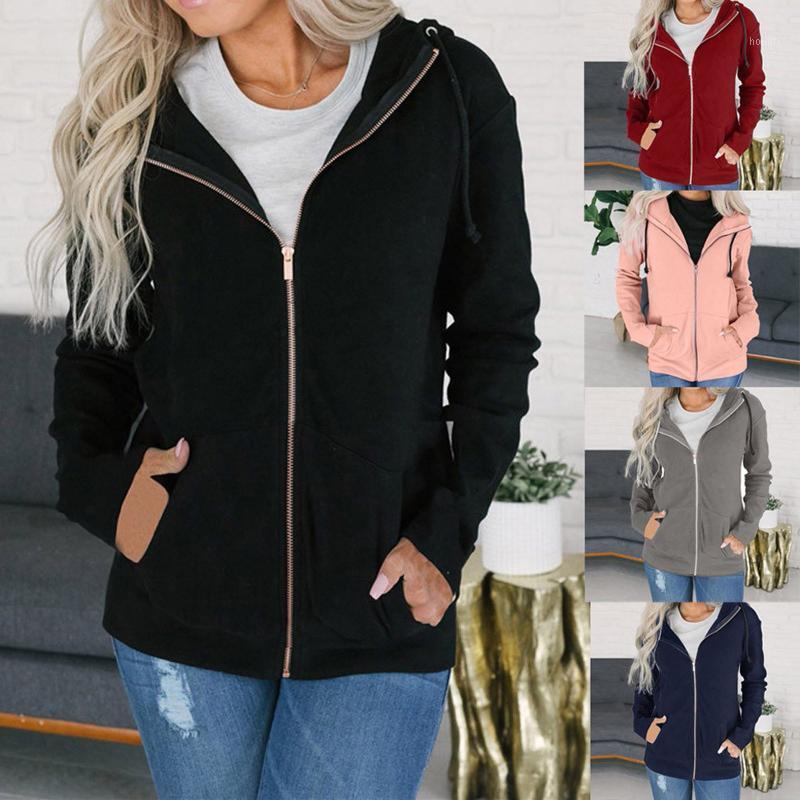 Мода женская молния с длинным рукавом толстовки с длинным рукавом пальто, куртка с капюшоном пальто держит тепло и ветрозащитный комфорт1
