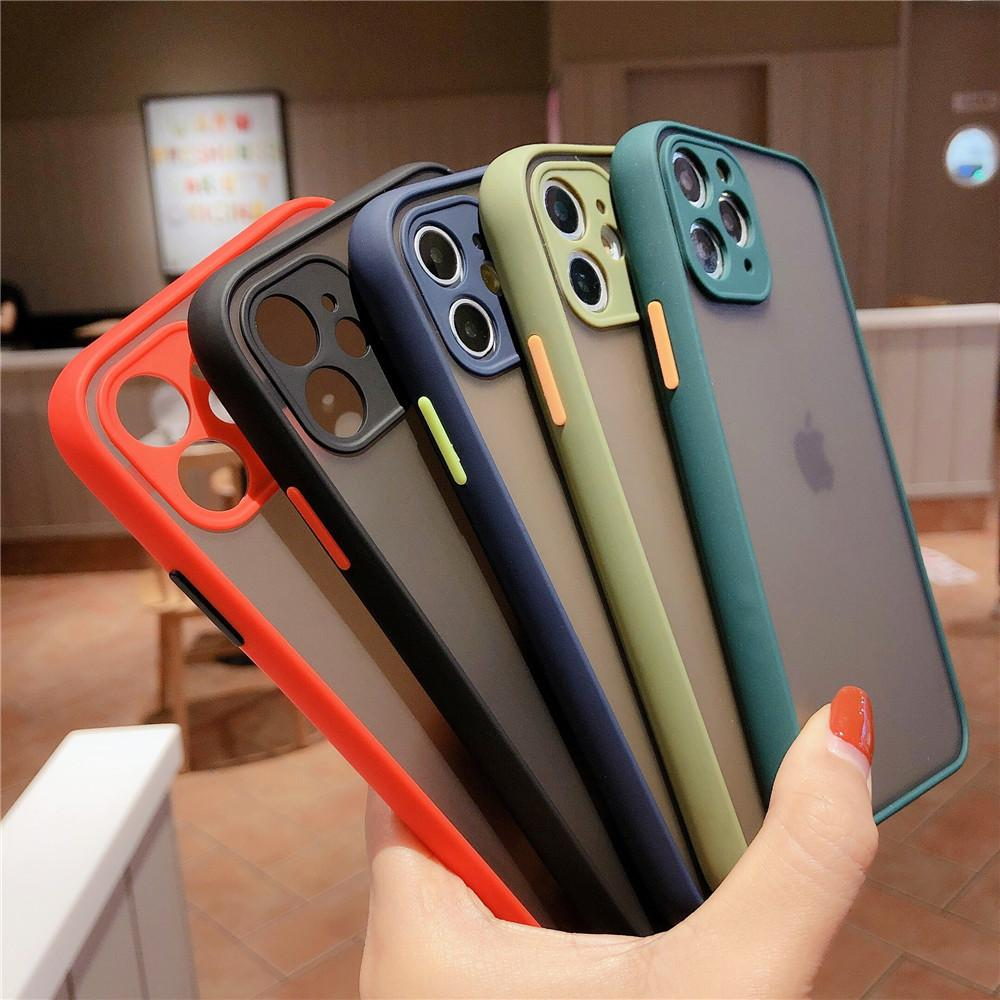 Kameraobjektivschutz Telefonkasten für iPhone 11 pro max 12 mini x x x XR 6 6 s 7 8 plus se matte transparent Stoßdämpfe Abdeckung Großhandel DHL