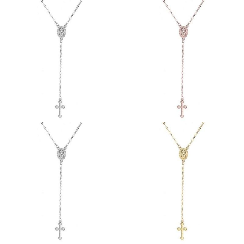 Ожерелье розашка нового креста для женщин Девы Мэри Девы Религиозные религиозные Иисус распятие кулон Золото Серебряные розовые золотые цепи мода ювелирные изделия 94 м2