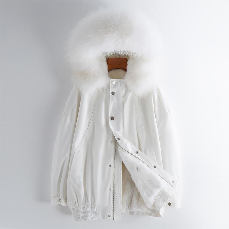 Cappotto di pelliccia raccoon reale collo di pelliccia con cappuccio giacca femmina addensare giacche calde per le donne 2021 donne cappotti ropa zjt719